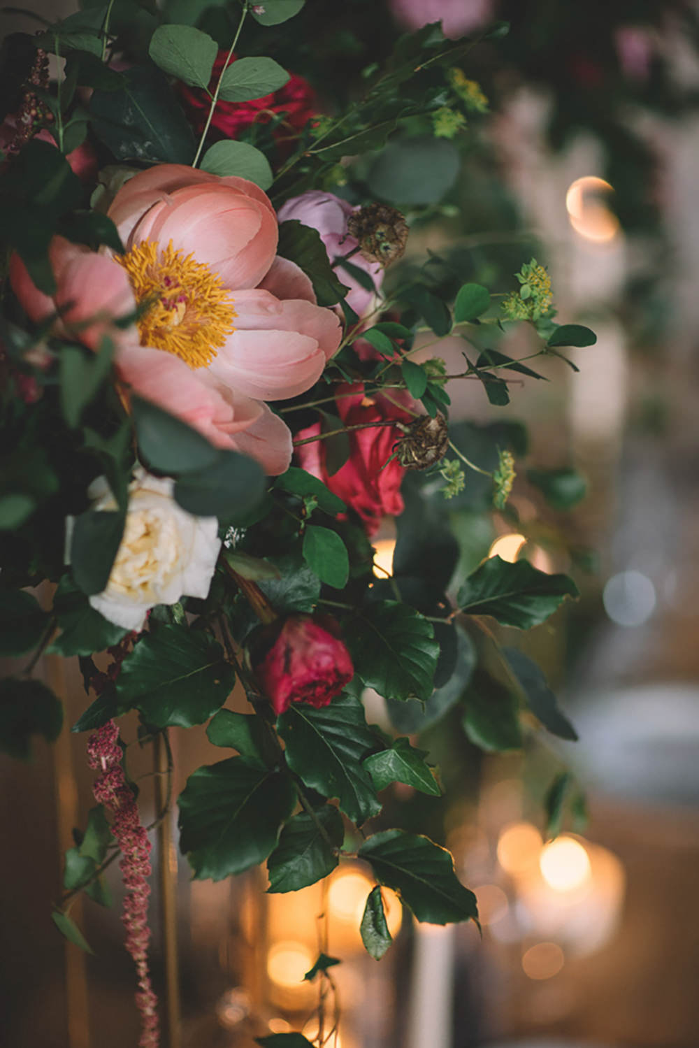 Table Tablescape Flowers Tall High Suspended Hanging Gold Greenery Foliage Coral Peony Peonies Free Spirited Wedding Ideas Woodland Lumiere Photographic