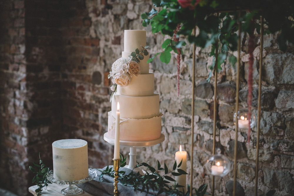 Iced Cake Ivory Blush Flowers Tier Free Spirited Wedding Ideas Woodland Lumiere Photographic