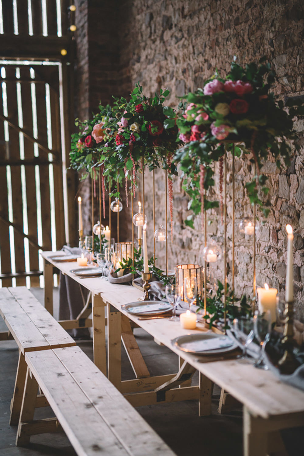 Table Tablescape Flowers Tall High Suspended Hanging Gold Greenery Foliage Coral Peony Peonies Candles Runner Long Free Spirited Wedding Ideas Woodland Lumiere Photographic