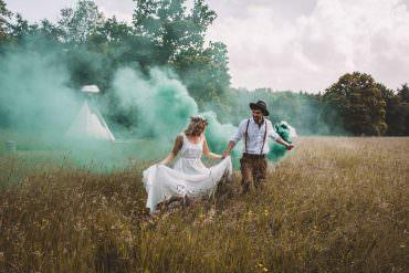 Smoke Bombs Bride Groom Portraits Photos Free Spirited Wedding Ideas Woodland Lumiere Photographic