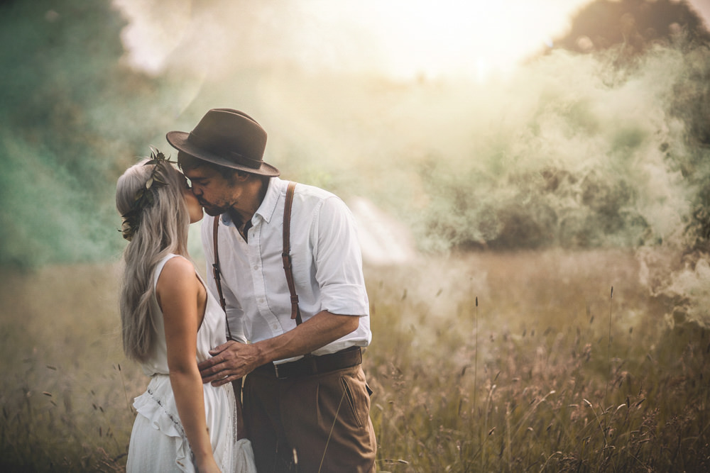 Smoke Bombs Bride Groom Portraits Photos Free Spirited Wedding Ideas Woodland Lumiere Photographic