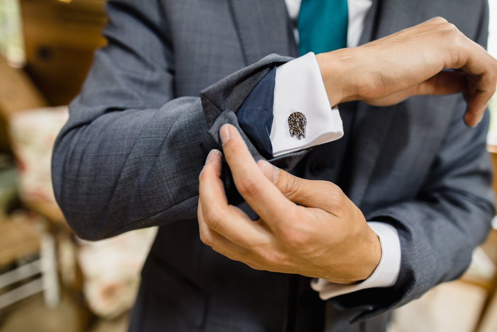 Groom Cufflinks Fun Laughter Relaxed Wedding Chris Barber Photography