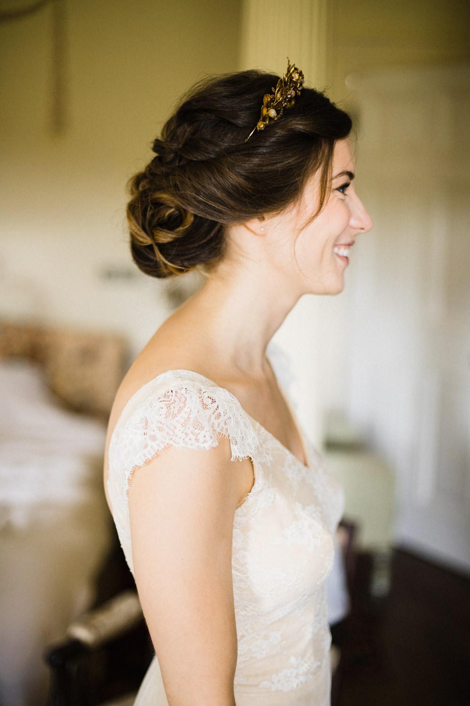 Kula Tsurdiu Dress Gown Bride Bridal Cap Sleeves Lace Fun Laughter Relaxed Wedding Chris Barber Photography