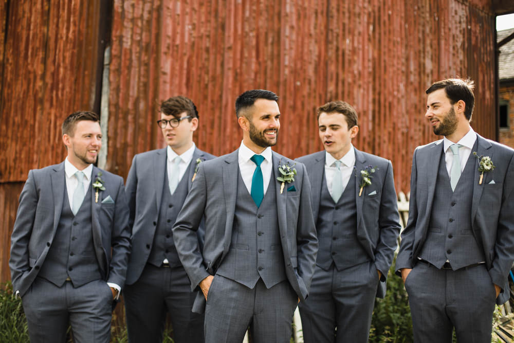 Groom Groomsmen Grey Suit Green Tie Fun Laughter Relaxed Wedding Chris Barber Photography