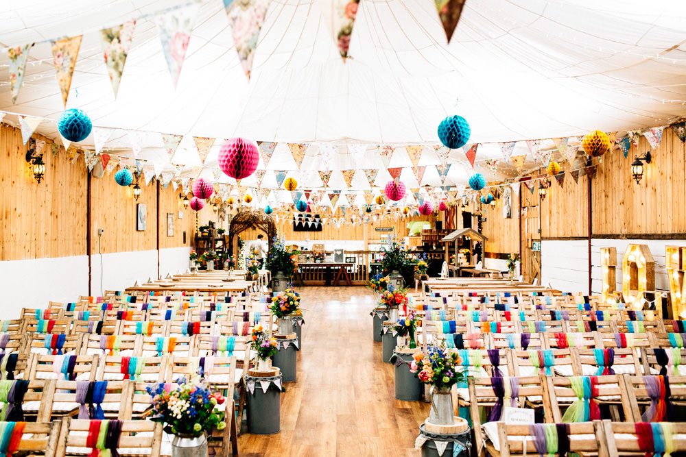 Ceremony Set Up Paper Lanterns Bunting Multicoloured Chiffon Tie Chair Back Fun Quirky Colourful Wedding Fairclough Studios