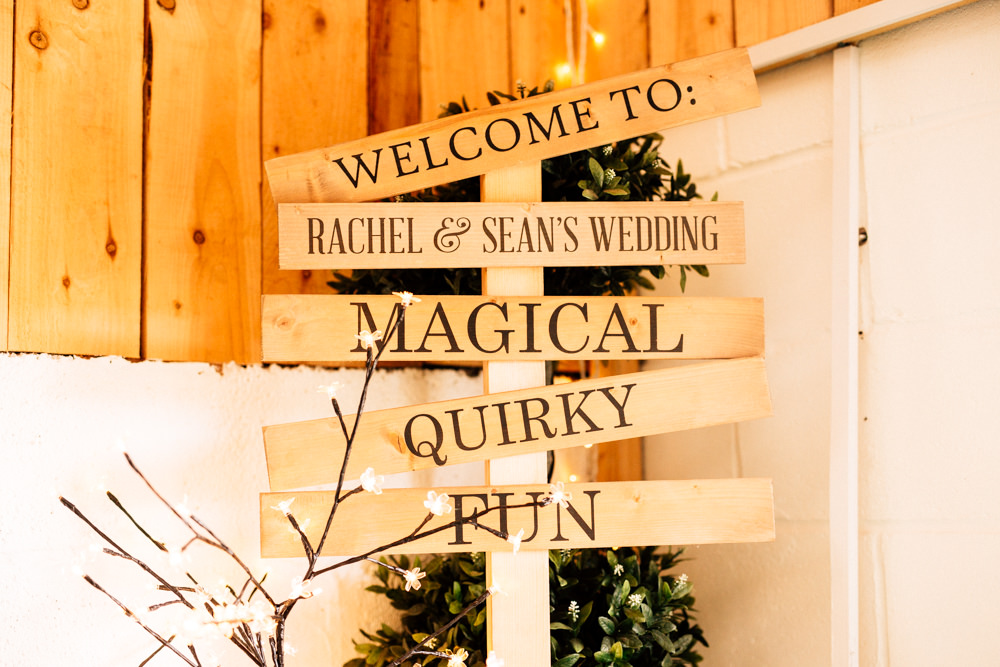 Signage Wooden Signpost Light Up Twigs Fun Quirky Colourful Wedding Fairclough Studios