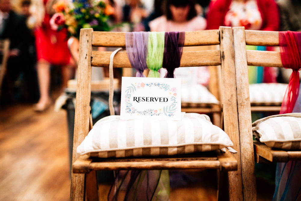 Chair Reserved Chiffon Chair Back Ceremony Fun Quirky Colourful Wedding Fairclough Studios