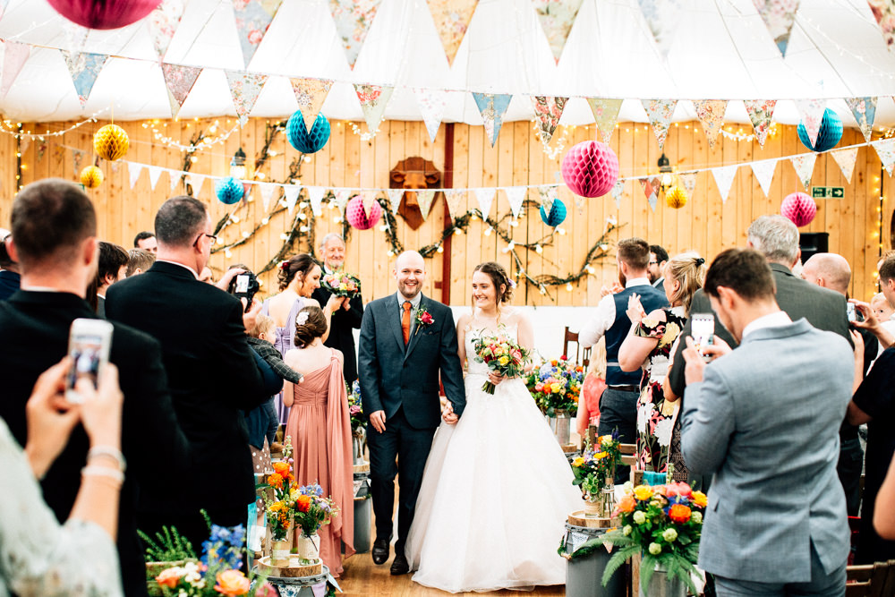 Bride Bridal Lace Tulle Full Skirt Sweetheart Illusion Navy Suit Orange Tie Groom Bouquet Fun Quirky Colourful Wedding Fairclough Studios