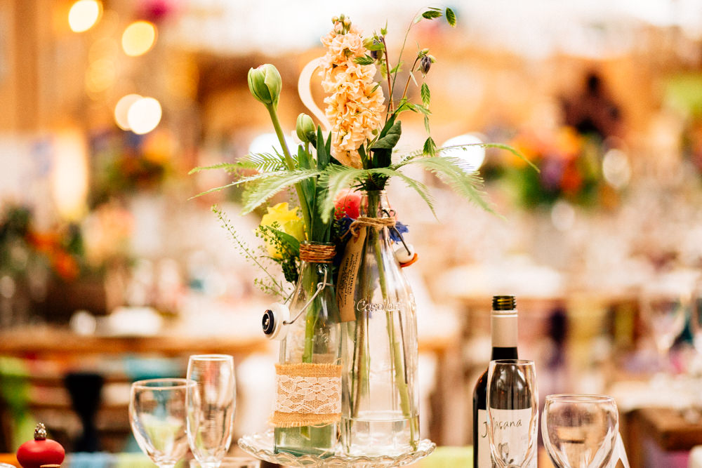 Bottle Flower Arrangements Floral Hessian Lace Fun Quirky Colourful Wedding Fairclough Studios