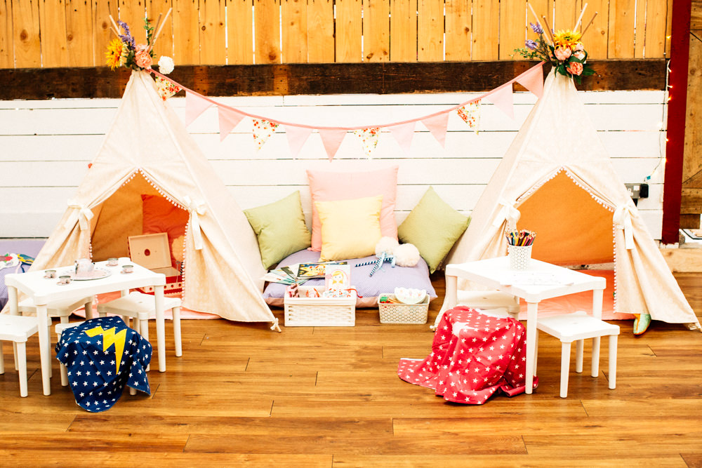Childrens Area Childcare Teepee Activities Fun Quirky Colourful Wedding Fairclough Studios
