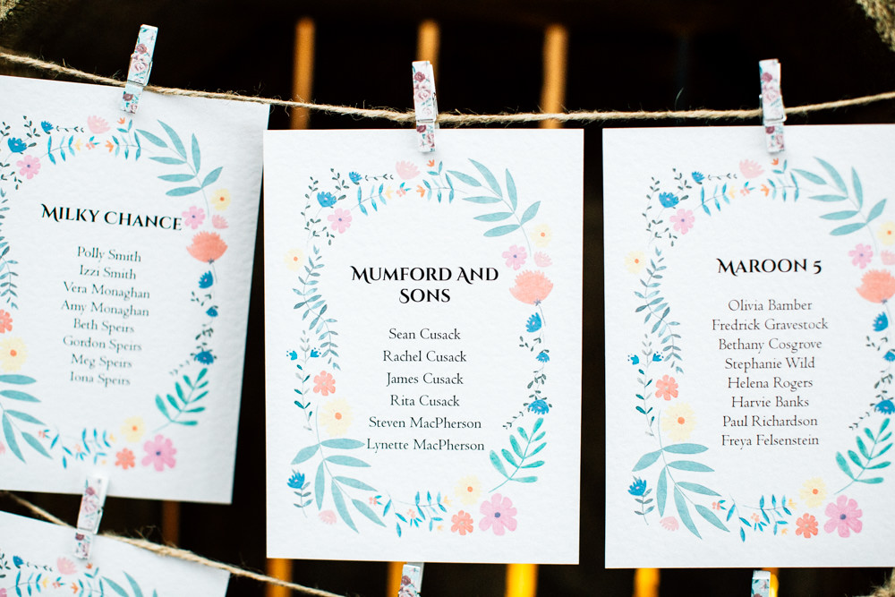 Table Names Bands Peg Twine Fun Quirky Colourful Wedding Fairclough Studios