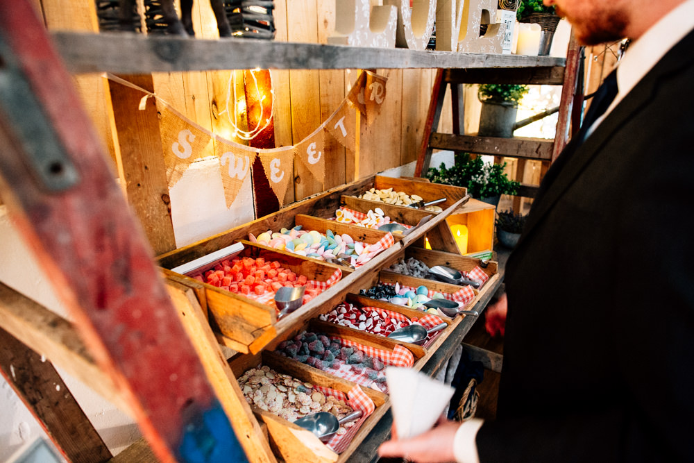 Wooden Pick and Mix Station Sweets Bunting Hessian Fun Quirky Colourful Wedding Fairclough Studios