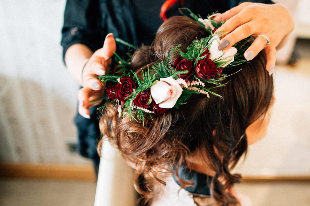 Hair Bride Bridal Up Do Flowers Red Pink Gamekeepers Inn Wedding Fairclough Studios