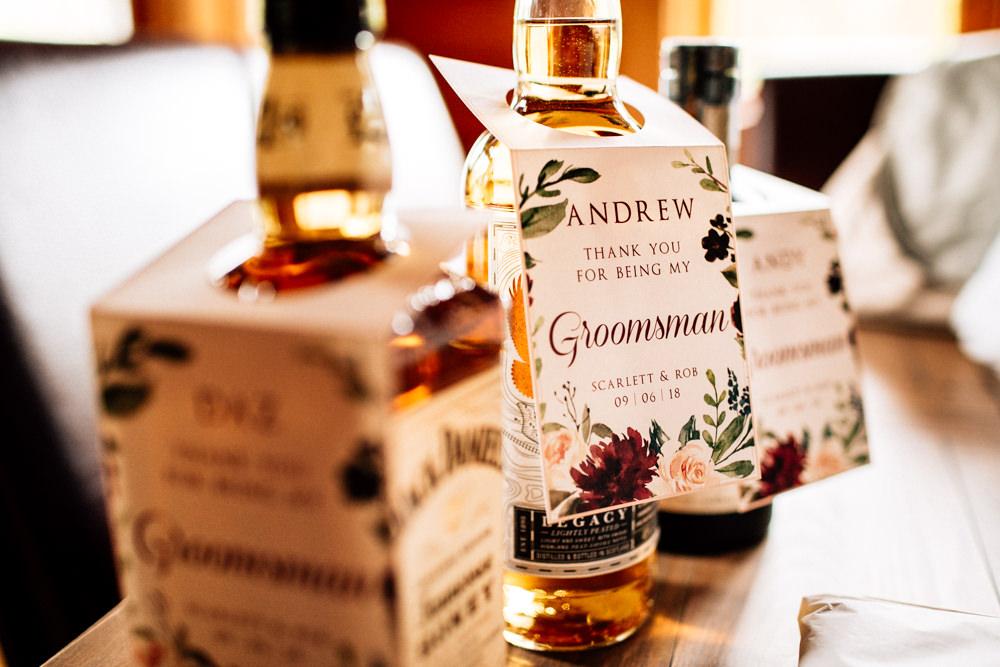 Groom Groomsmen Bottle Gift Personalised Tag Gamekeepers Inn Wedding Fairclough Studios