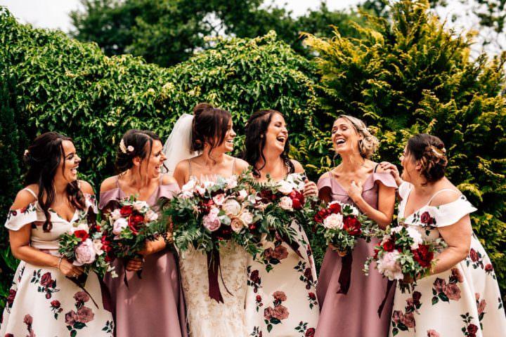 Pink Red Floral Bridesmaid Dresses Bouquets Gamekeepers Inn Wedding Fairclough Studios