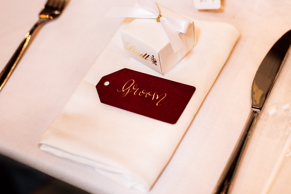 Red Burgundy Gold Calligraphy Place Name Tag Gamekeepers Inn Wedding Fairclough Studios