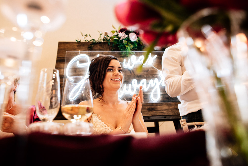 Neon Sign Words Quote Backdrop Top Table Gamekeepers Inn Wedding Fairclough Studios