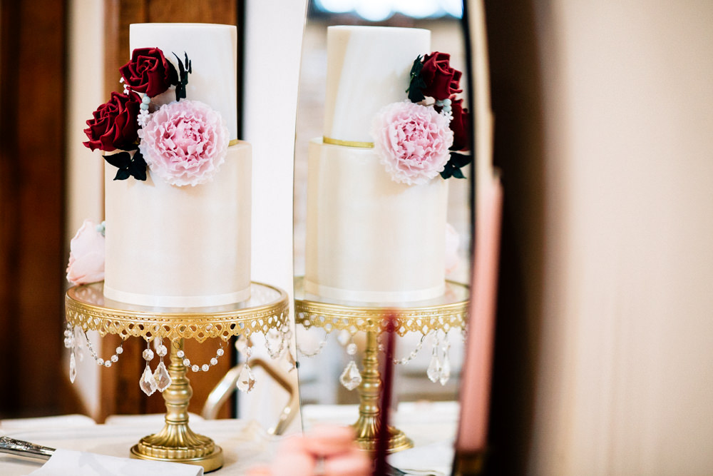 Cake Red Rose Pink Peony Tier Two Gold Stand Gamekeepers Inn Wedding Fairclough Studios