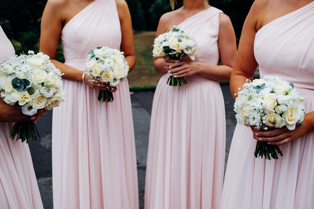 Bridesmaids Pink One Shoulder Blush Dress Posy Bouquet Kew Gardens Wedding Marianne Chua Photography