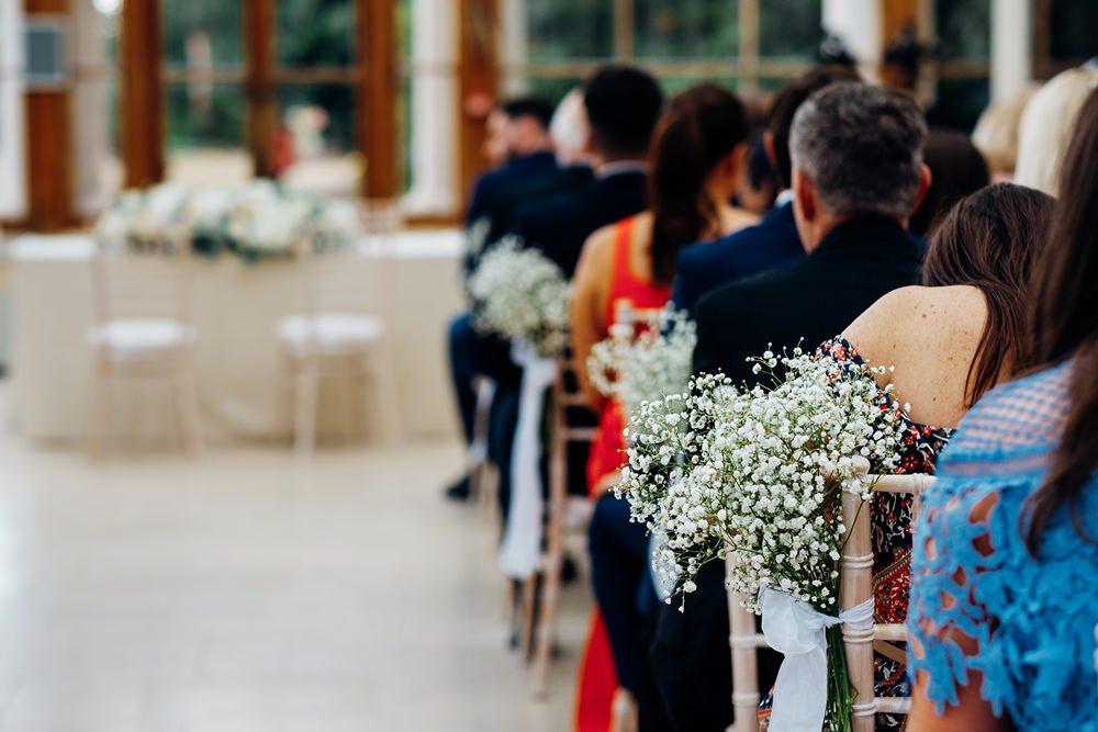 Gypsophila Pew Aisle Ends Tied Ribbon Kew Gardens Wedding Marianne Chua Photography
