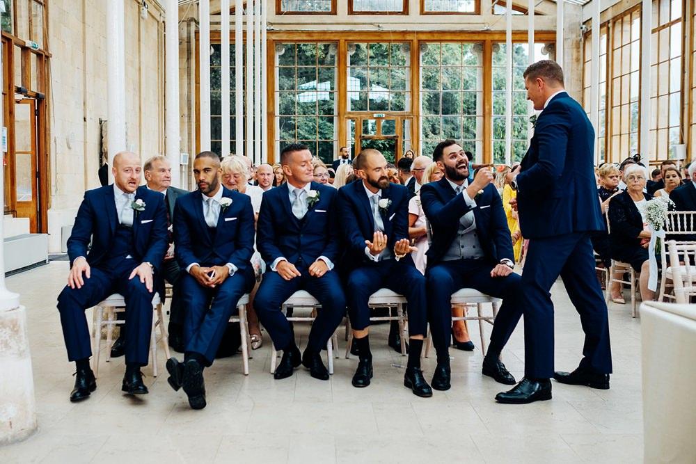 Navy Suit Groomsmen Waistcoat Three Piece Kew Gardens Wedding Marianne Chua Photography