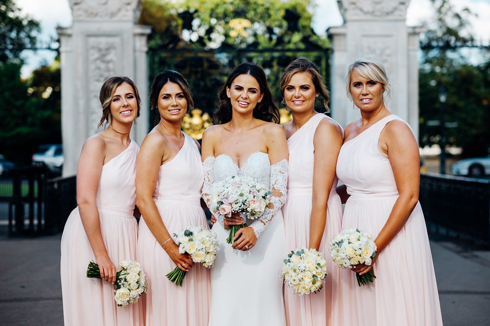 Bride Bridal Pronovias Sweetheart Neckline Detached Sleeves Fishtail One Shoulder Pink Blush Bridesmaids Kew Gardens Wedding Marianne Chua Photography