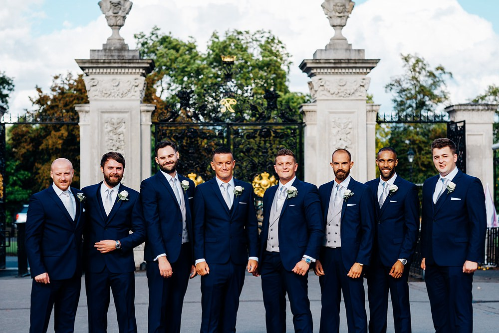 Navy Groomsmen Groom Double Breasted Waistcoat Three Piece Suit Kew Gardens Wedding Marianne Chua Photography