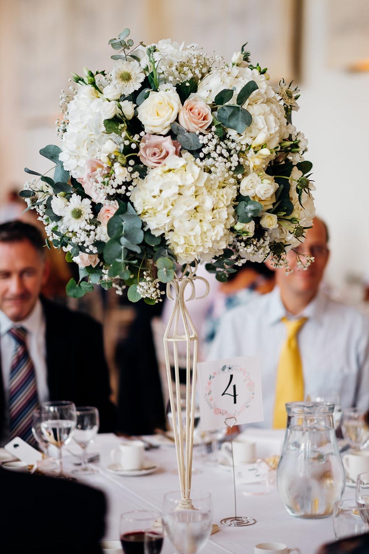 Floral Flowers Centrepiece Tall Pedestal Rose Hydrangea Blush Pink White Kew Gardens Wedding Marianne Chua Photography