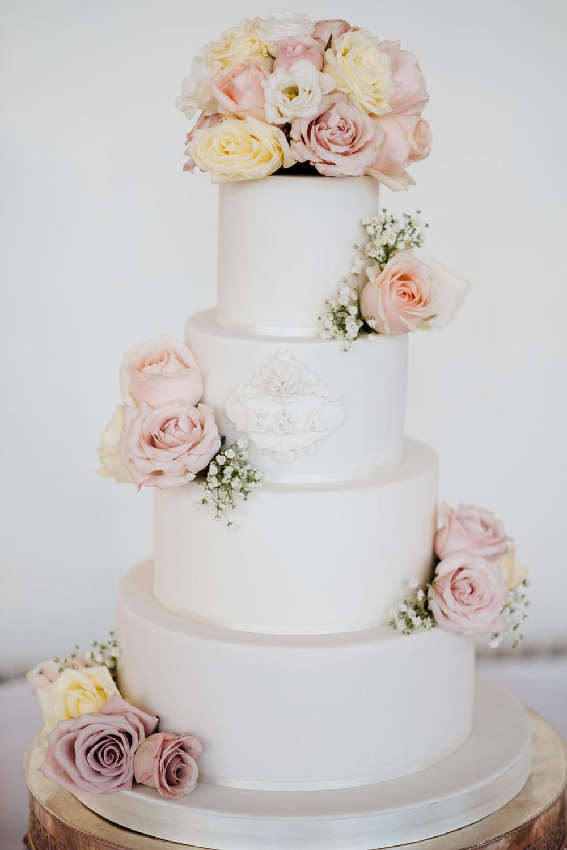 White Cake Tiered Icing Pink Blush White Roses Gypsophila Monogram Kew Gardens Wedding Marianne Chua Photography