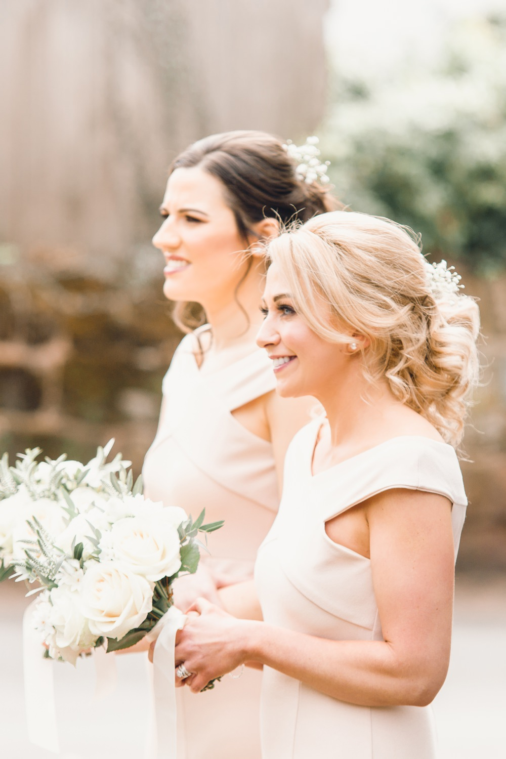 Bridesmaids Dress Dresses Pale Pink Long Maxi Hair Style Llanrhaeadr Springs Wedding Jessica Reeve Photography