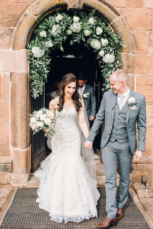 Flower Arch Church Greenery Foliage Hydrangea Rose Llanrhaeadr Springs Wedding Jessica Reeve Photography