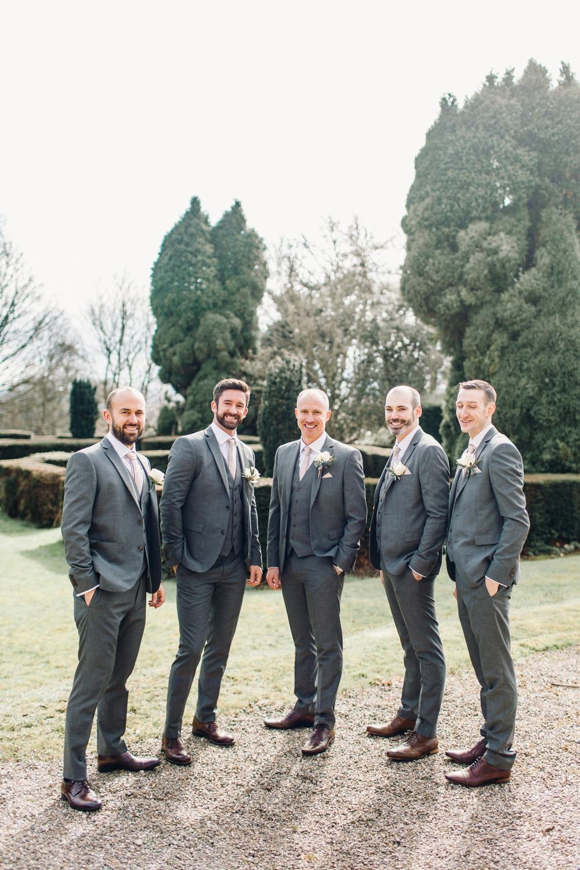 Groom Grey Suit Floral Tie Groomsmen Waistcoat Llanrhaeadr Springs Wedding Jessica Reeve Photography