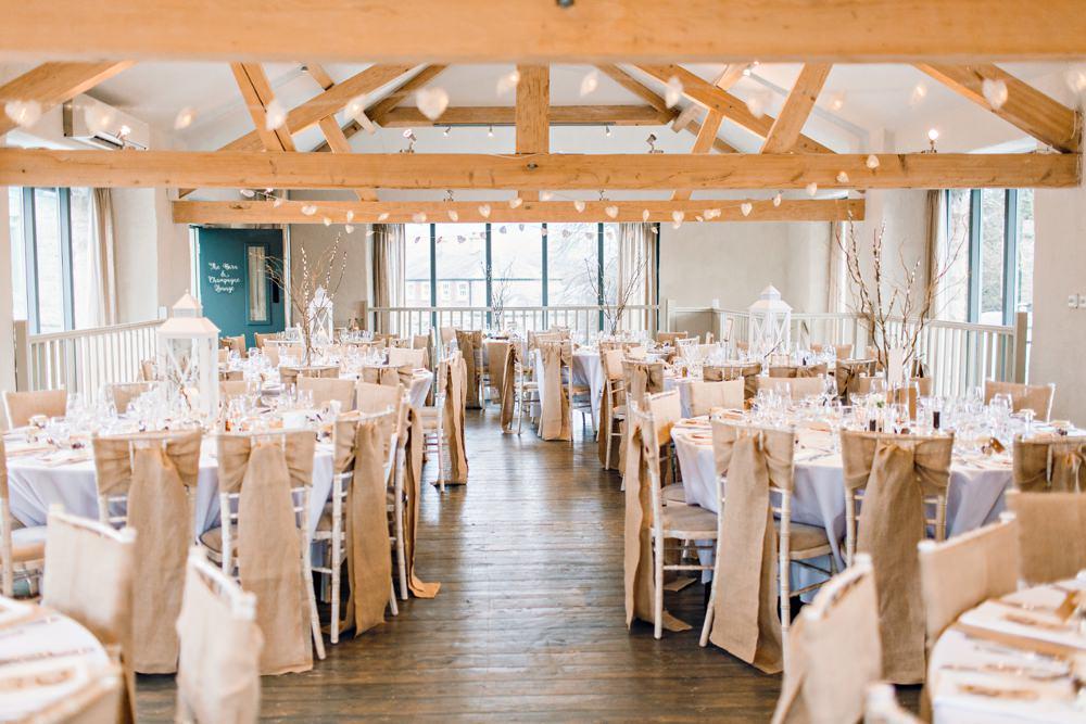 Barn Modern Hessian Burlap Chairs Ribbons Llanrhaeadr Springs Wedding Jessica Reeve Photography
