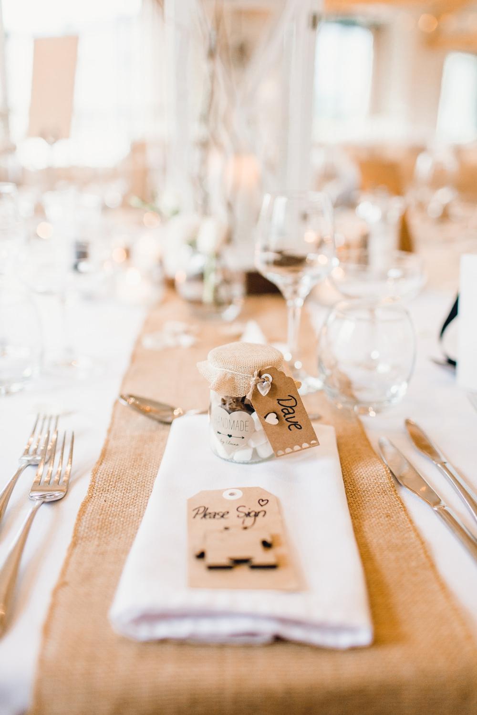 Place Setting Table Decor Hessian Burlap Luggage Tag Puzzle Jam Jar Favour Llanrhaeadr Springs Wedding Jessica Reeve Photography