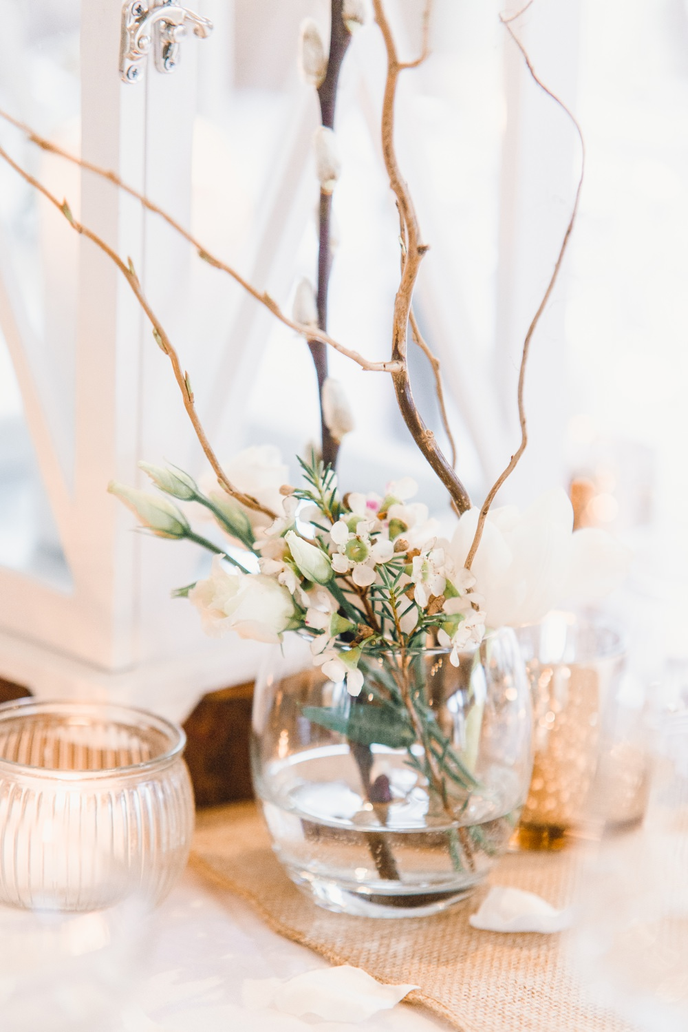 Table Decor Hessian Burlap Lantern Candle Cenrrepiece Branch Flowers Llanrhaeadr Springs Wedding Jessica Reeve Photography