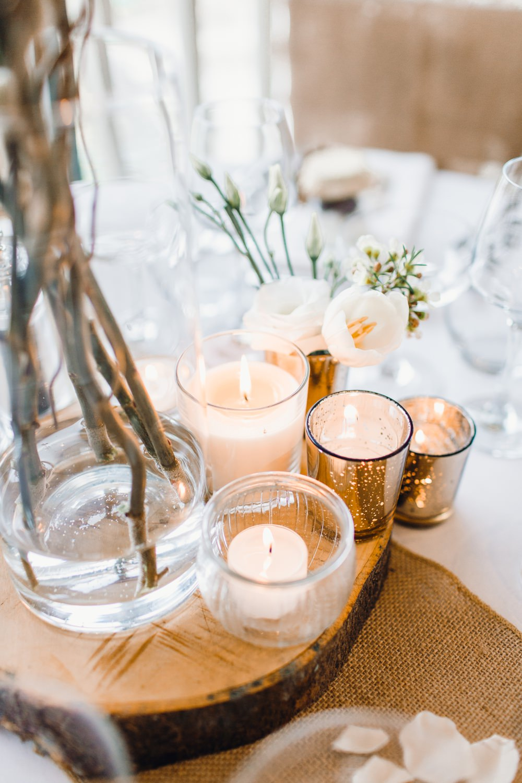 Table Decor Hessian Burlap Lantern Candle Cenrrepiece Branch Flowers Candles Llanrhaeadr Springs Wedding Jessica Reeve Photography