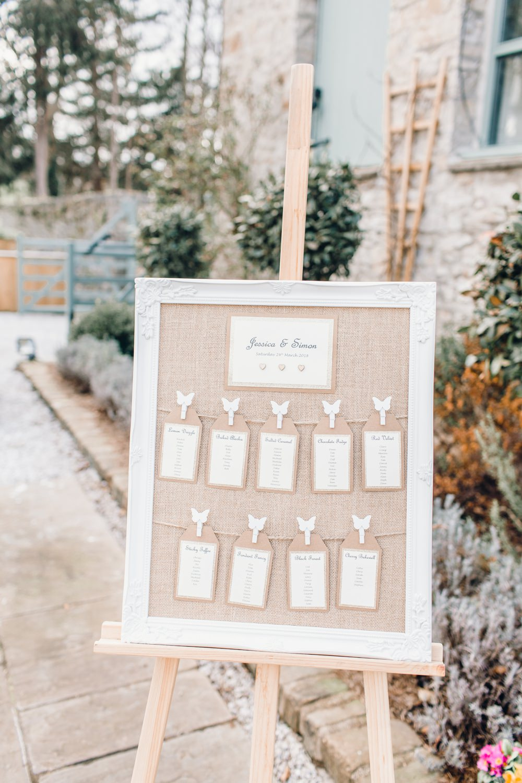 Hessian Burlap Frame Seating Plan Table Chart Pegs Llanrhaeadr Springs Wedding Jessica Reeve Photography