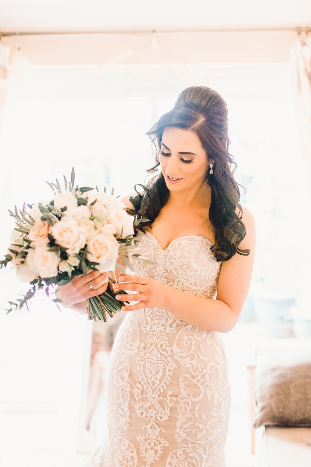 Bride Bridal Dress Gown Ivory Lace Champagne Satin Sweetheart Strapless Train Corset Bodice Pearls Llanrhaeadr Springs Wedding Jessica Reeve Photography