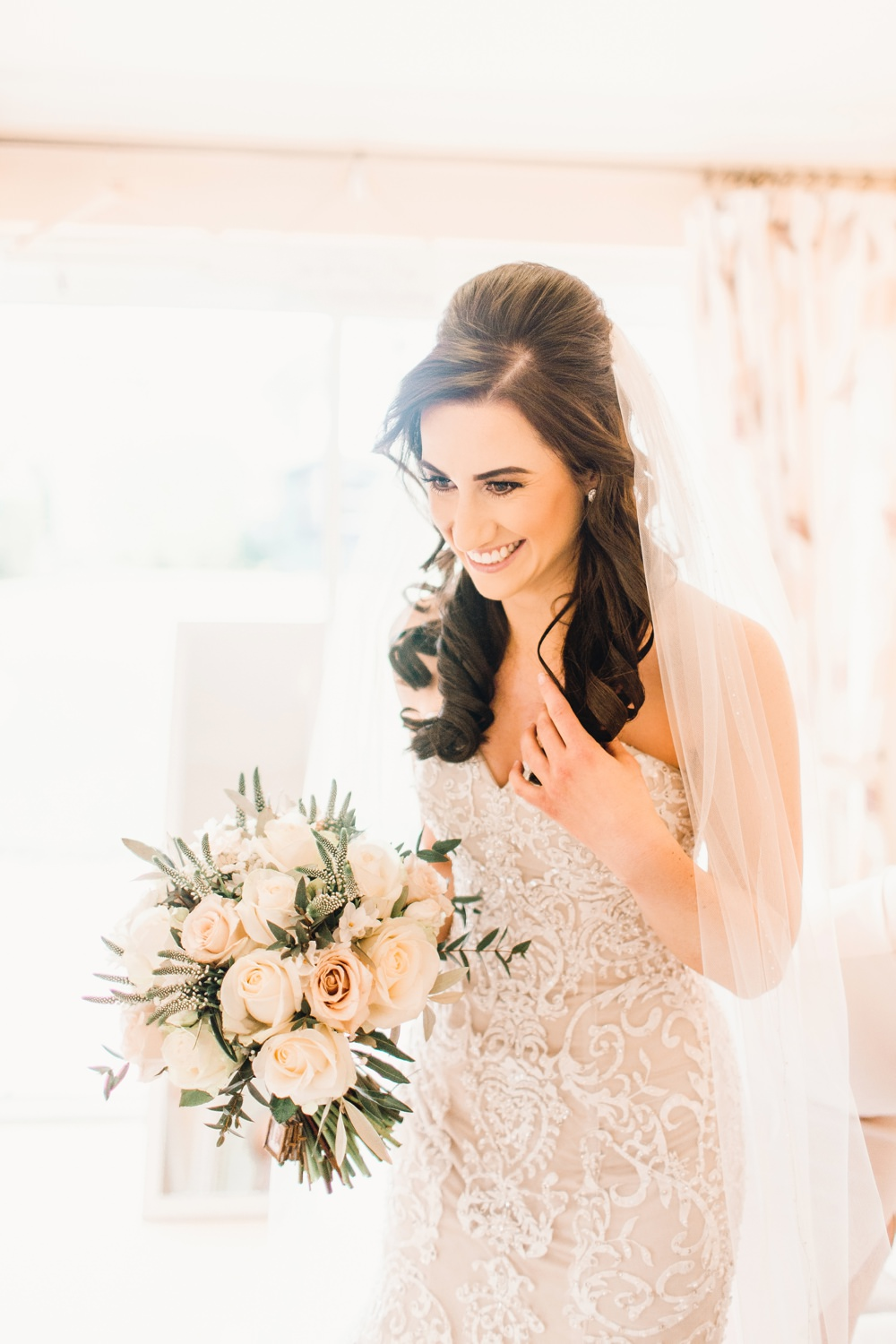 Bride Bridal Dress Gown Ivory Lace Champagne Satin Sweetheart Strapless Train Corset Bodice Pearls Veil Llanrhaeadr Springs Wedding Jessica Reeve Photography