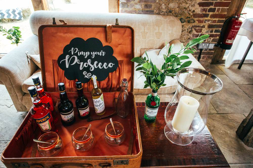 Pimp Your Prosecco Bar Stand Station Long Barn Wedding Three Flowers Photography