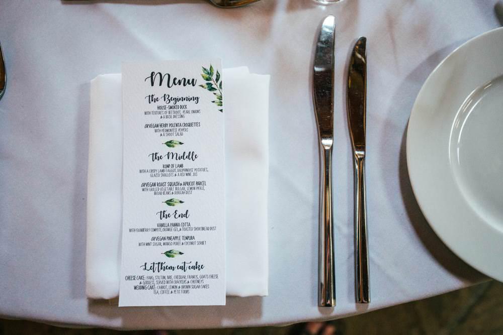 Botanical Greenery Foliage Stationery Menu Long Barn Wedding Three Flowers Photography