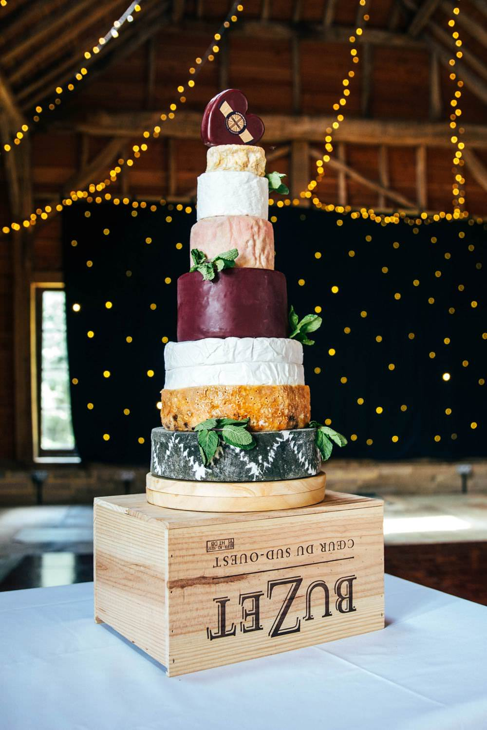 Cheese Tower Stack Crate Wooden Long Barn Wedding Three Flowers Photography