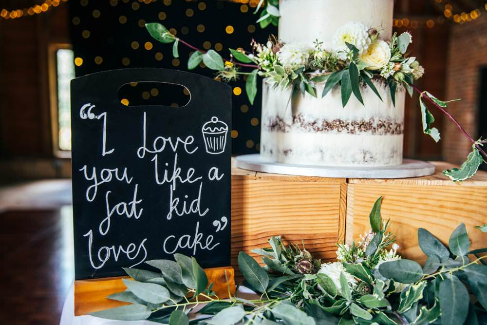 Cake Sign Long Barn Wedding Three Flowers Photography