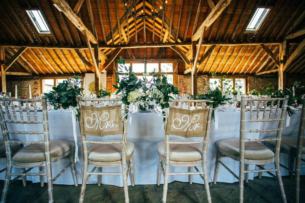 Hessian Burlap Chair Signs Long Barn Wedding Three Flowers Photography