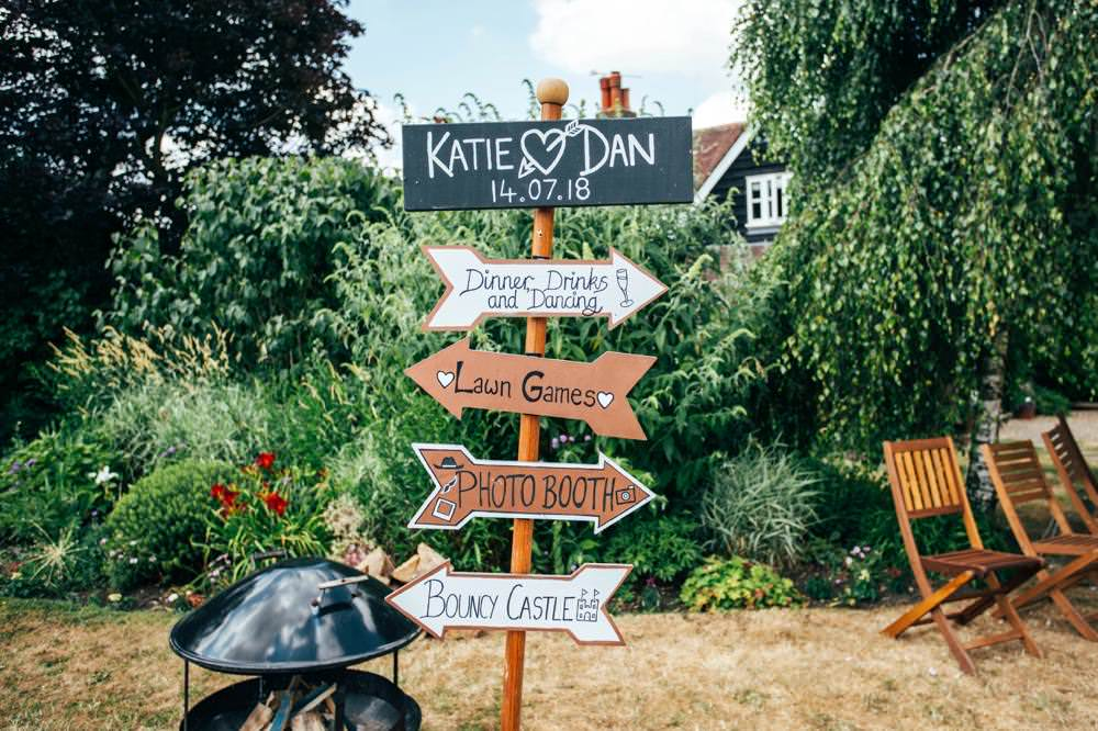 Sign Post Directions Long Barn Wedding Three Flowers Photography