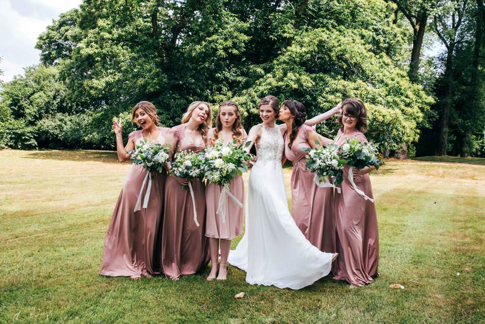 Dusky Pink Long Maxi Bridesmaid Dresses Long Barn Wedding Three Flowers Photography