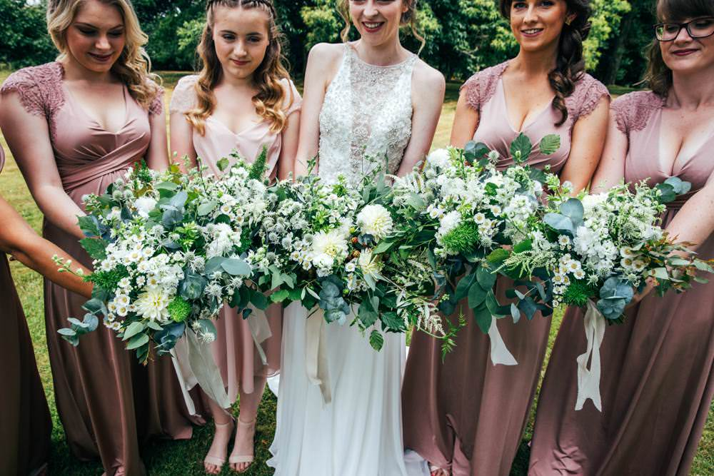 Bouquet Flowers Bride Bridal Thistle Greenery Foliage Bridesmaids Dahlia Long Barn Wedding Three Flowers Photography