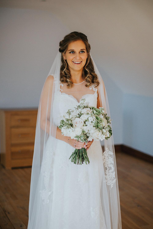 Bride Bridal Sleeveless Embroidered Blush White Greenery Bouquet Veil Loseley Park Wedding Kit Myers Photography