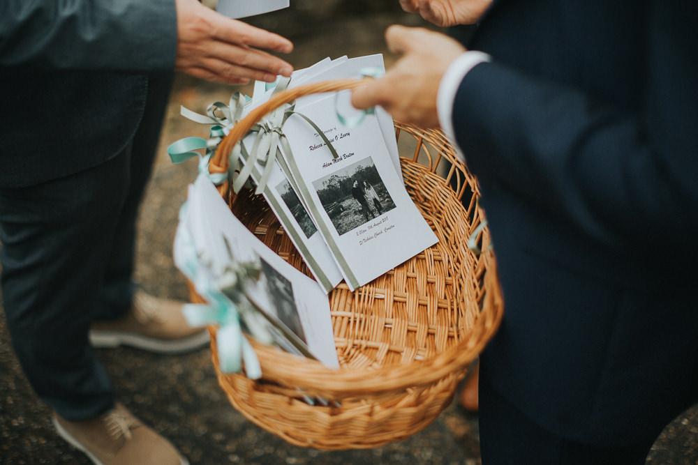 Order of Service Basket Stationery Loseley Park Wedding Kit Myers Photography