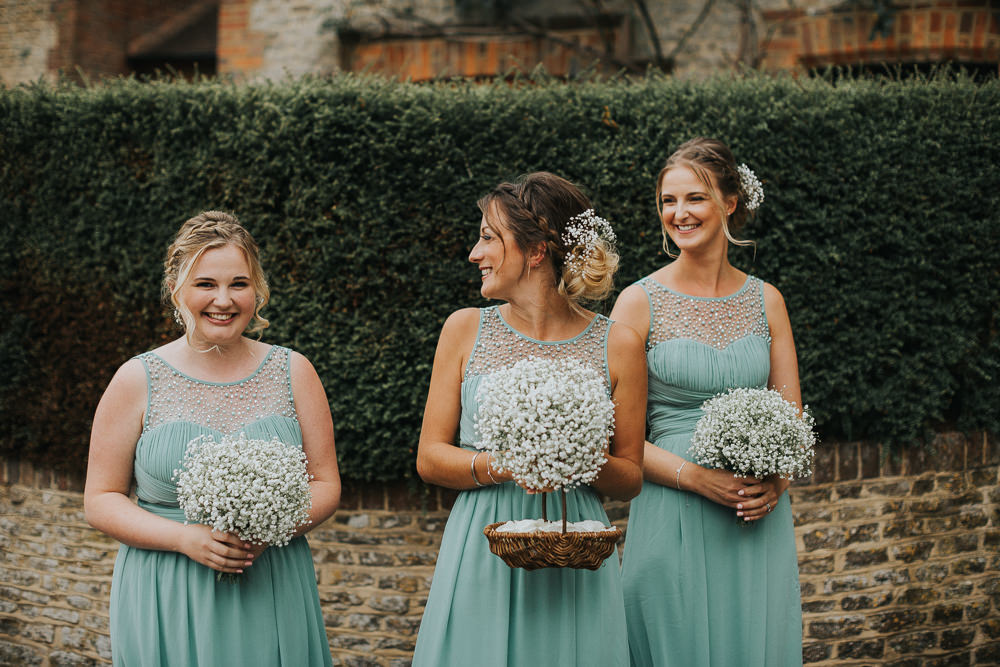Sage Green Bridesmaids Dresses Gypsophila Beaded Braided plait Up Do Confetti Basket Loseley Park Wedding Kit Myers Photography